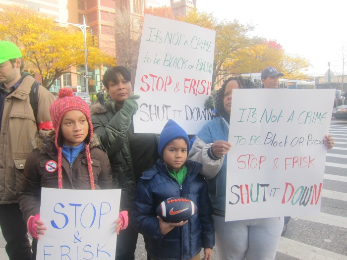 A group of protesters at the November 19, 2011 march against Stop & Frisk in Jamaica Queens. The covor photo is from the same event (photos by David Rutherford)