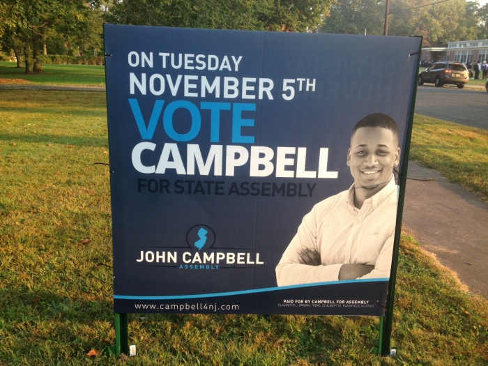 One of John Campbell's 4' x 4' signs on Central Avenue in Plainfield.