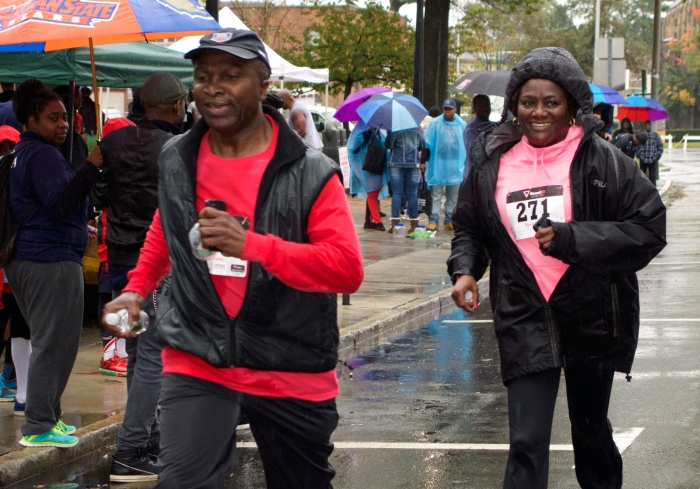 Mayor Adrian Mapp and first lady Amelia finish the 5k walk/run
