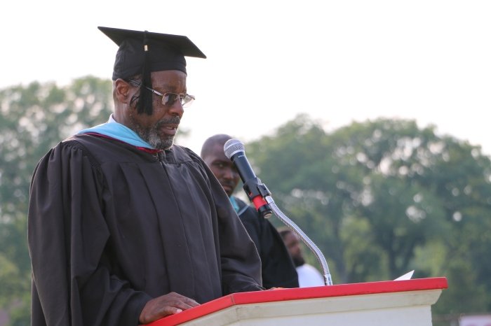 PHS Principal Otis Brown speaks to the graduates. This is Brown's last year as Principal of Plainfield High School after 41 years of service to the district.