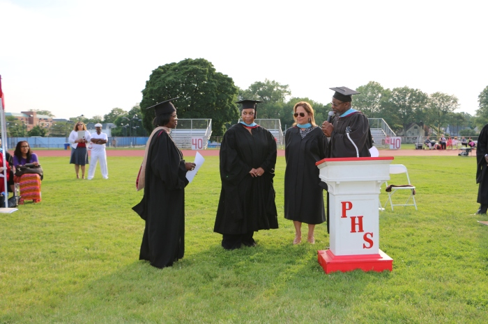 School Superintendent Anna Belin-Pyles accepts the Class of 2015