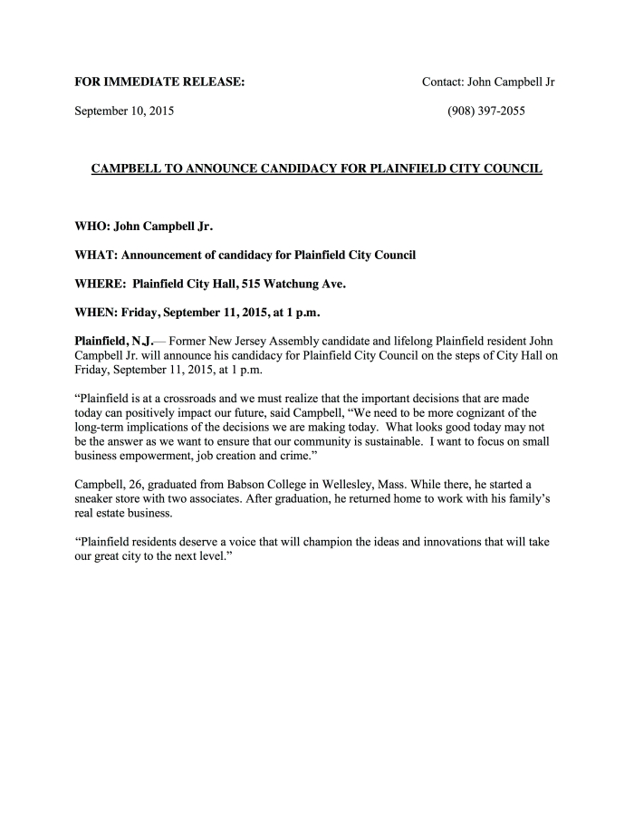 Campbell Press Release
